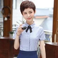 夏季短袖衬衫女韩版新款修身气质百搭条纹职业衬衣